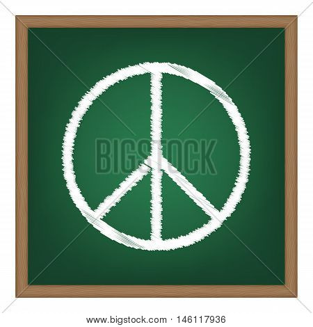 Peace Sign Illustration. White Chalk Effect On Green School Board.
