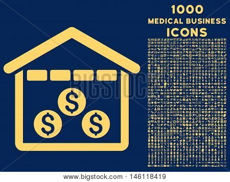 Money Depository raster icon with 1000 medical business icons. Set style is flat pictograms, yellow color, blue background.