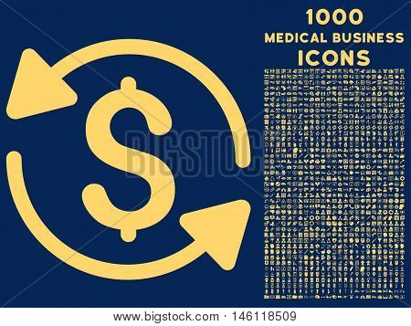 Money Turnover raster icon with 1000 medical business icons. Set style is flat pictograms, yellow color, blue background.