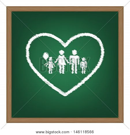 Family Sign Illustration In Heart Shape. White Chalk Effect On Green School Board.