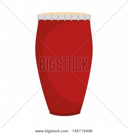 red conga drum wooden musical instrument. vector illustration