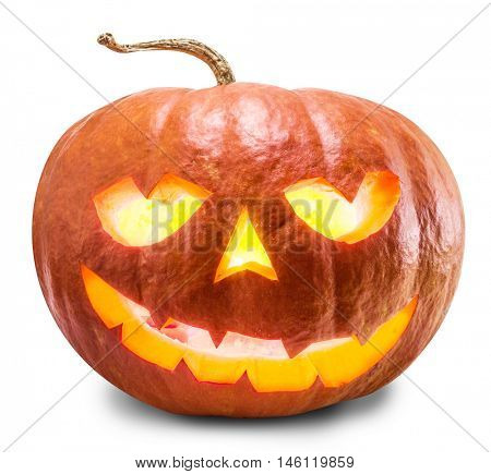 Grinning pumpkin lantern or jack-o'-lantern is one of the symbols of Halloween. Clipping path.
