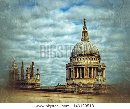 St Pauls cathedral with tower  in London, uk.