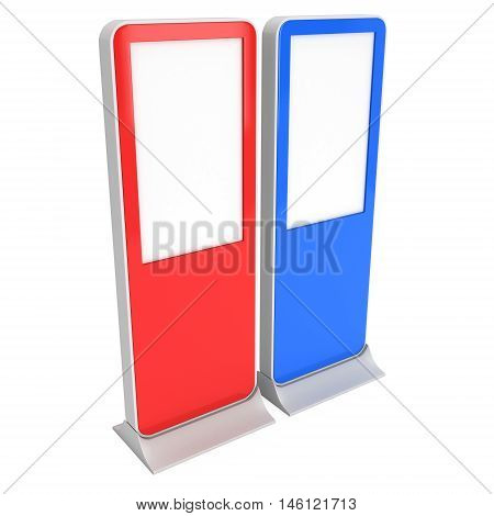 LCD screen red and blue stands. Blank Trade Show Booth. 3d render of lcd screen isolated on white background. High Resolution. Ad template for your expo design.