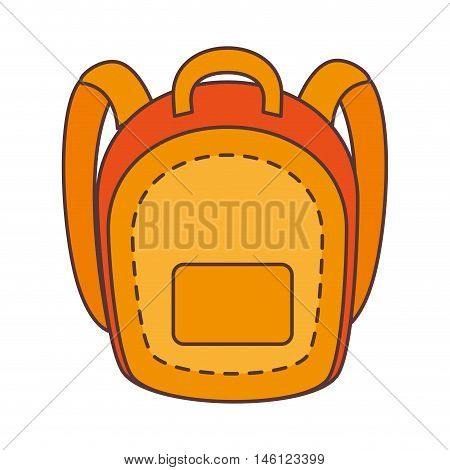 yellow school backpack with pocket. education utensil. vector illustration