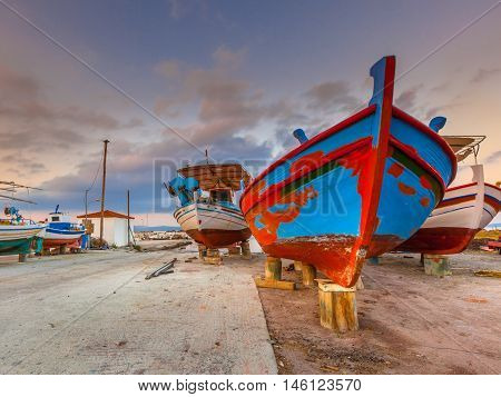 Fishing Boats Being Repaired
