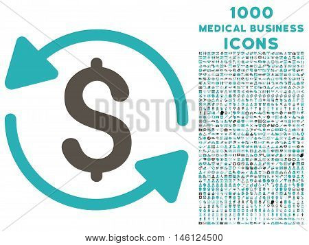 Money Turnover raster bicolor icon with 1000 medical business icons. Set style is flat pictograms, grey and cyan colors, white background.