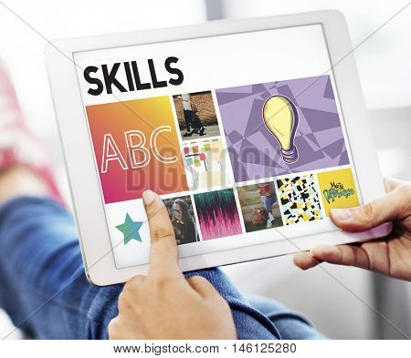 Skills Education Academic Development Connection Tablet Cocnept
