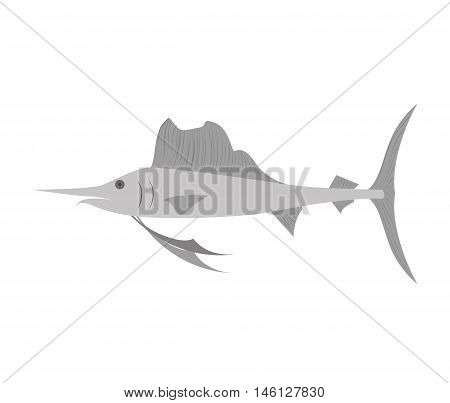 Swordfish ocean water animal  wildlife cartoon. vector illustration