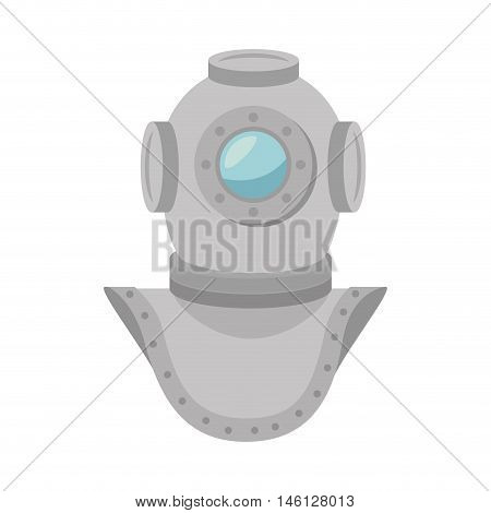 metal aqualung antique diving underwater equipment. vector illustration