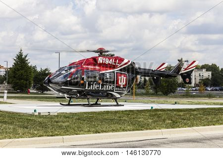 Indianapolis - Circa September 2016: Indiana University Health Lifeline Helicopter Prepares for Departure from IU Hospital North I