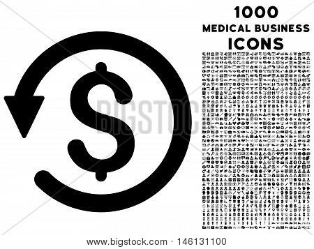 Chargeback raster icon with 1000 medical business icons. Set style is flat pictograms, black color, white background.