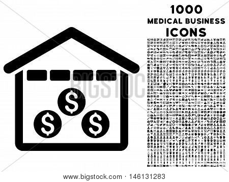 Money Depository raster icon with 1000 medical business icons. Set style is flat pictograms, black color, white background.