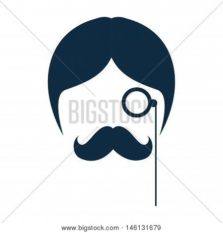 man face with mustache and retro monocle. hipster fashion lifestyle. vector illustration