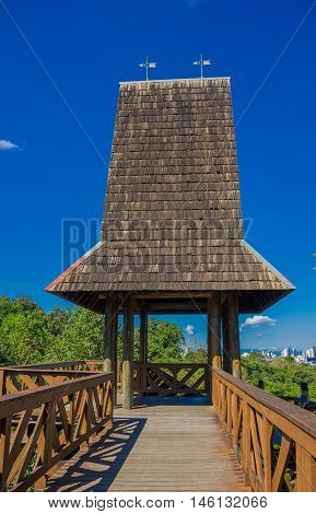 CURITIBA , BRAZIL - MAY 12, 2016: torre dos filososfos it is located inside de german park and its a nice place to see the skyline of the city.