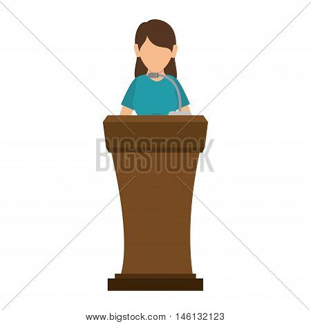 avatar orator woman in a speech communication podium wooden pedestal with microphone. vector illustration