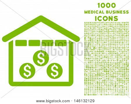 Money Depository raster icon with 1000 medical business icons. Set style is flat pictograms, eco green color, white background.