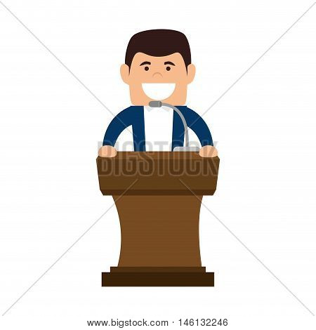 avatar orator man in a speech communication podium wooden pedestal with microphone. vector illustration
