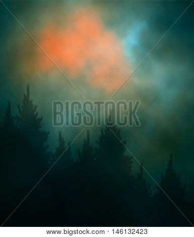 Editable vector illustration of a cloudy evening sky over a conifer forest created using gradient meshes
