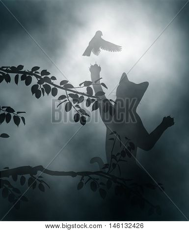 Editable vector illustration of a cat leaping to catch a small garden bird made using gradient meshes