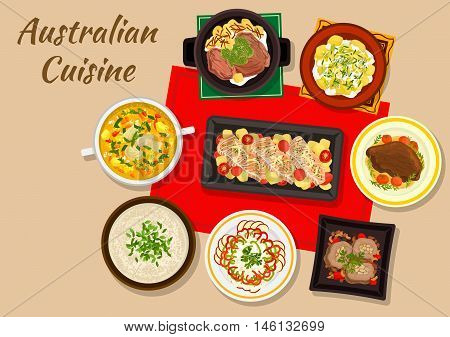 Australian cuisine dinner icon with baked salmon, beef steak, chicken cream soup with almond, beef rolls with nuts, potato salad, fruit and vegetable salad, boiled beef, chicken broth with ginger