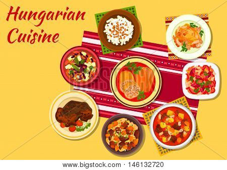 Hungarian cuisine sign of chicken paprikash, beef goulash, vegetable stew lecso with sausage, noodles with bacon, stuffed pepper, bean soup, bean salad with dumplings, meat stew in paprika sauce