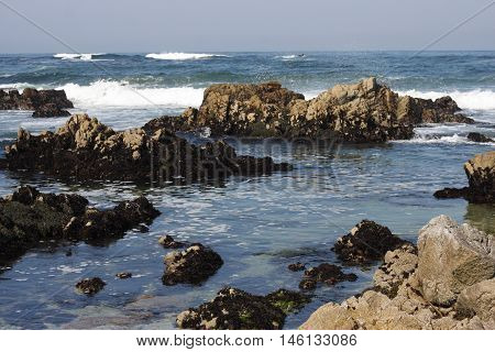 This is an image of large rocks along the shoreline of Asilomar Beach in Pacific Grove, California.