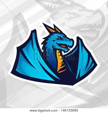 Dragon logo concept. Football or baseball mascot design. College league insignia, School team vector