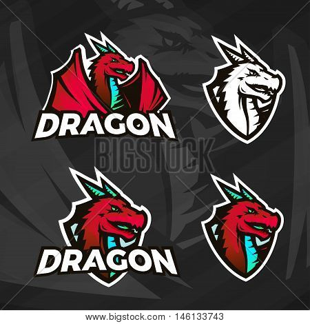 Creative dragon logo template. Sport mascot design. College league insignia, Asian beast sign, Dragons illustration, School team vector, Football poster