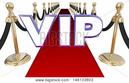 VIP Very Important Person Red Carpet Letters Event 3d Illustration