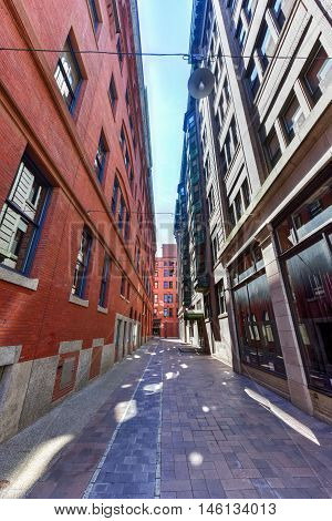 Providence, Rhode Island - August 21, 2016: Alleyway in downtown Providence Rhode Island.