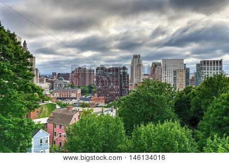 Providence, Rhode Island - August 21, 2016: Aerial view of downtown Providence Rhode Island.