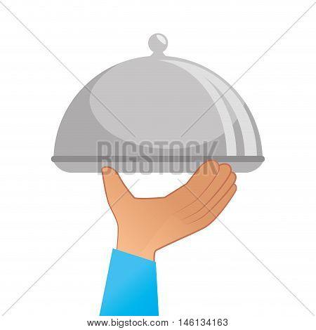hand holding ametal platter restaurant. waiter service element