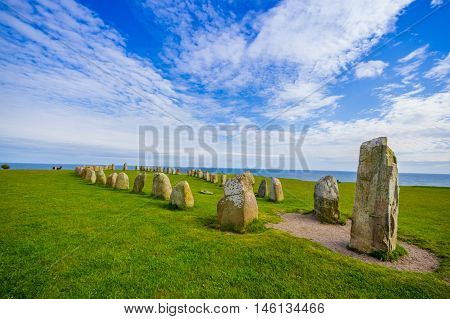 Ales stones, imposing megalithic monument in Skane, Sweden
