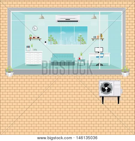 Living room with air conditioning outside block of air conditioner installation Air conditioning services flat design vector illustration.