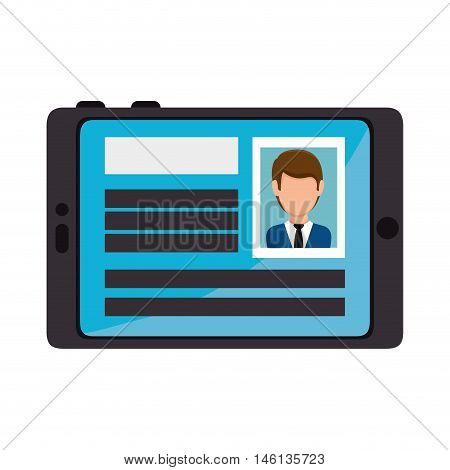 smartphone with a male identification card. personal id information. vector illustration