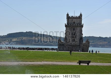 LISBON, PORTUGAL - AUG 23: Belem Tower in Lisbon, Portugal, as seen on Aug 23, 2016. It is situated on the northern bank of the Tagus River and is a UNESCO World Heritage Site.