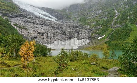 Autumn at glaciers and lakes in Norway