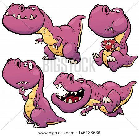 Vector illustration of Dinosaur Cartoon Character Set