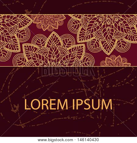 Decorative element border. Abstract invitation card. Template design for card. Handdraw pattern