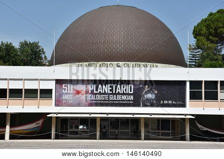 LISBON, PORTUGAL - AUG 23: Planetarium Calouste Gulbenkian at Belem in Lisbon, Portugal, as seen on Aug 23, 2016. The planetarium was built between 1963 and 1965.