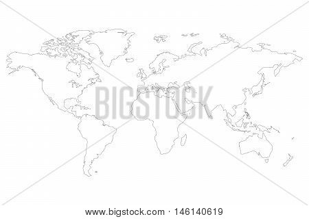 Earth map out line atlantic island pacific continent map