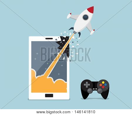 mobile smartphone gaming application concept rocket breaking through from mobile smartphone screen vector illustration
