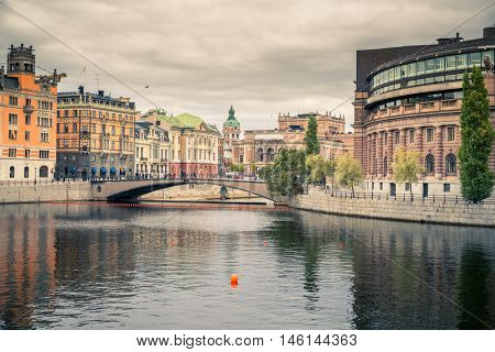 Embankment and parliament building in Stockholm. poster