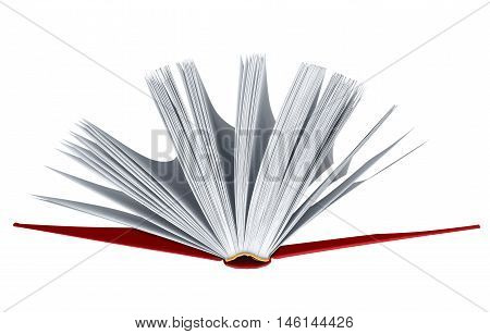 Open red book isolated on white background with clipping path for your design