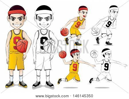 Basketball Player Vector Character Set  with Line Drawing Version Wearing Yellow Jersey Number Nine in Isolated in White Background