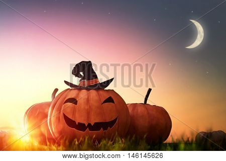 Happy halloween! Head pumpkin and hat witch on sunset background.