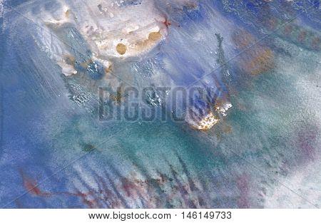 The sunk ships on a sea-bottom among seaweed