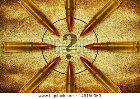 Eight bullets aiming in a question mark from different direction