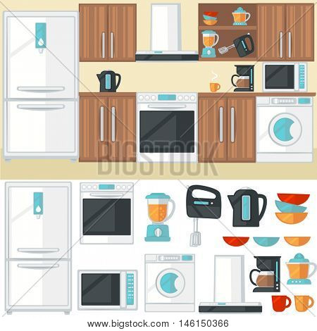 Kitchen room interior with kitchen furniture, appliances, electronics and cooking tools. Colorful isolated icons set. Flat design illustration